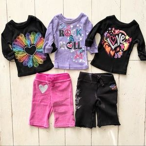 Amy Coe girls sweats and thermal tops set